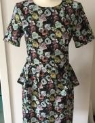 Sukienka kwiaty baskinka piękna 40 L jak nowa...