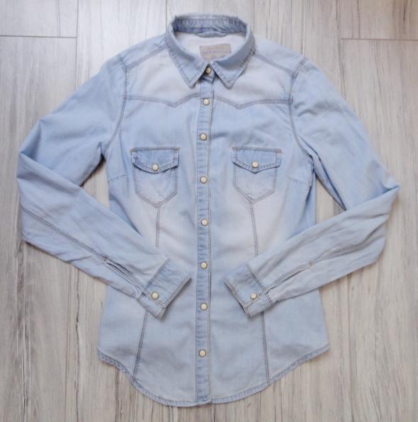 Jeansowa taliowana dżinsowa jasna koszula rękaw xs s...