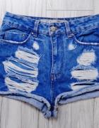 Krótkie jeansowe dżinsowe spodenki szorty strzępienia dziury wysoki stan xs