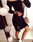 Czarna Sukienka Damska wiązania rozmiar M