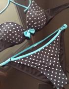 Bikini dwuczęściwowe czarne błękitne XS S kokardka