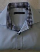 Błękitna koszula męska z wykończeniami w kratkę