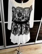 NOWA zmysłowa biała sukienka tunika czarna koronka