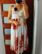 śliczna letnia sukienka szydełko asymetria