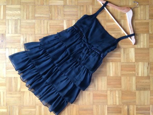 ATMOSPHERE mała czarna sukienka falbanki S