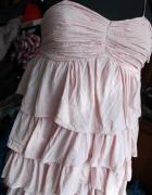 falbanowa zwiewna pudrowa mini sukienka HM