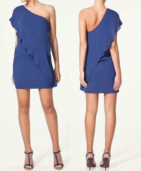 Suknie i sukienki ZARA niebieska granatowa z falbaną M