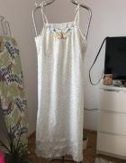 Biala bawelniana koszula nocna vintage w kolorowe