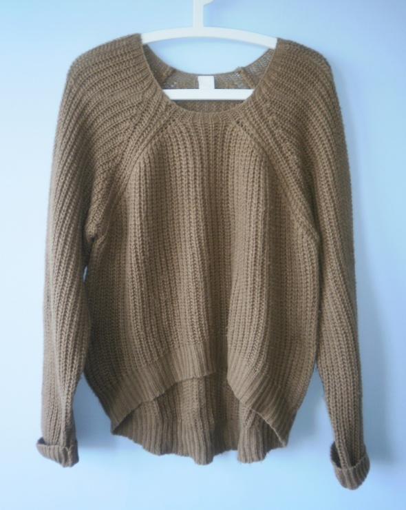 Vila sweter camel oversize ciepły minimalizm acne...