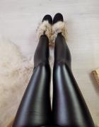 Skórzane legginsy woskowane ocieplane