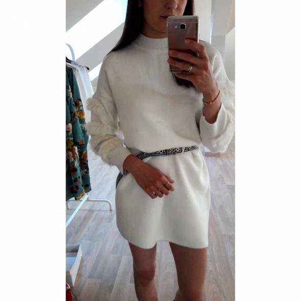Swetry NOWY sweter sukienka dzianinowy biały