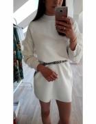 NOWY sweter sukienka dzianinowy biały...