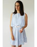 NOWA sukienka paski białe błękitne