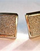 kolczyki kółka kwadraty cekiny srebrne połyskujące