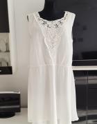biała sukienka z koronką Janina