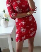 H&M Sukienka czerwona kwiaty cienki materiał M