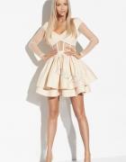 LOU sukienka Madeline S rozkloszowana beżowa