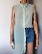 Pistacjowa koszula bez rękawów długa mgiełka r XL
