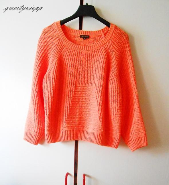 sweterek soczysta lekko neonowa pomarańcza plecion