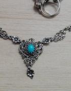 przepiękna srebrna kolia z turkusem srebro próby 835