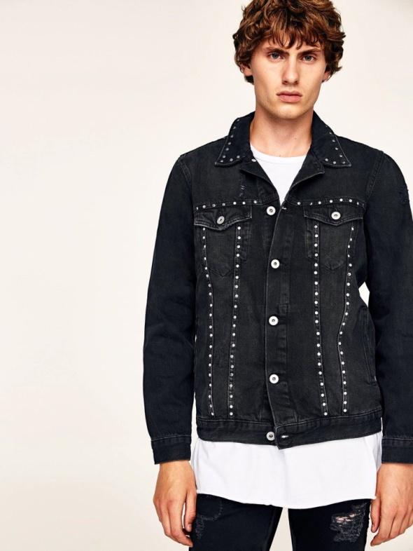 ZARA modna męska czarna kurtka katana jeansowa XL...
