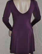 sukienka bordowa śliwkowa rozkloszowana 36 34