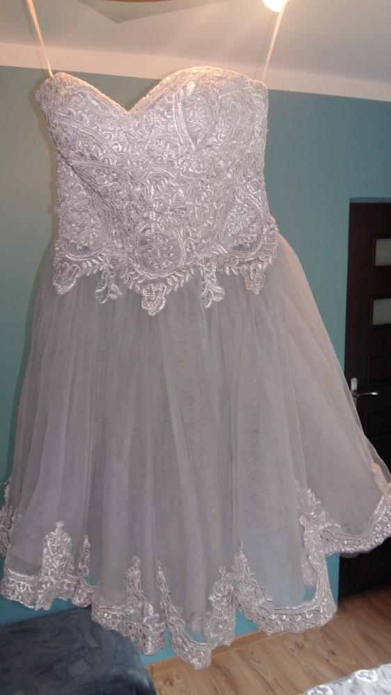 526042dc3d szara ozdobna sukienka gorsetowa tiul z koronką w Suknie i sukienki ...