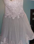 szara ozdobna sukienka gorsetowa tiul z koronką...