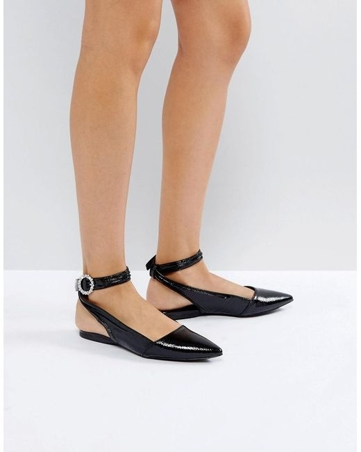 New Look Patent Bling Buckle Ankle Strap Flat Shoes