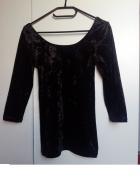 Czarna vintage welurowa bluzka KappAhl rozm 32 na 34...