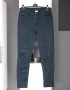 niebieskie dżinsy jeansy rurki wąskie wysoki stan high waist z ...