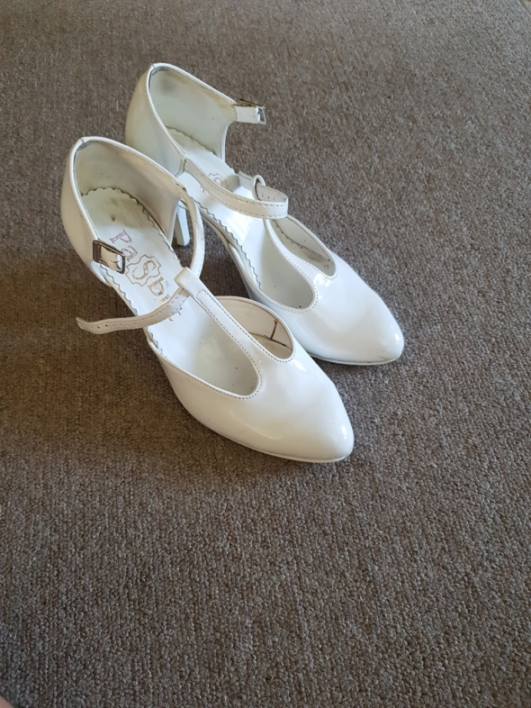 Białe buty ślubne obcas 8cm