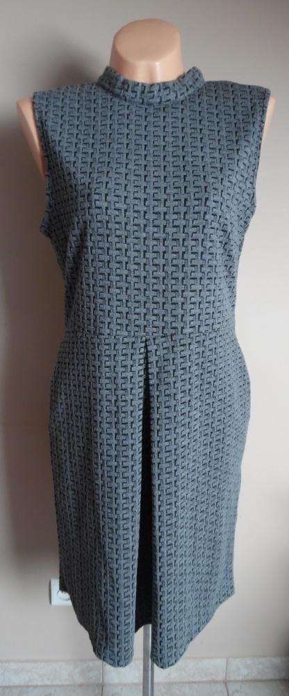 sukienka szara klasyczna z zamkiem
