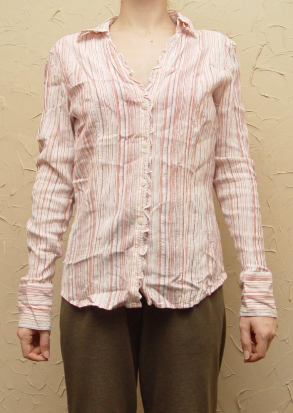 Koszula w paseczki biało różowa Rozmiar M