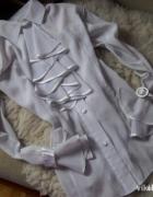 biała bluzka koszula galowa retro z żabotem falbankami...