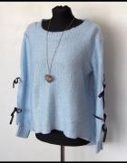 Uroczy sweterek z kokardą jesień niebieski UNI...