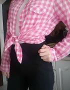 Różowa koszula w kratę z kołnierzykiem H&M 38 M