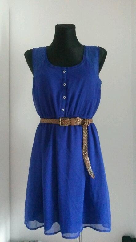 Kobaltowa sukienka koronka C&A L...
