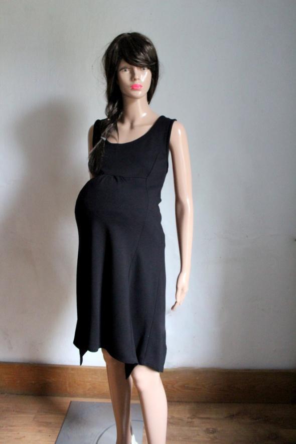 Czarna asymetryczna sukienka na ramiączkach idealna na ciążę r ...