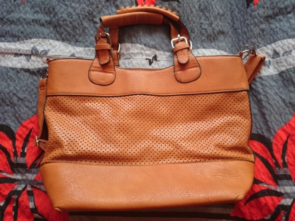 Brązowa torebka ażurowa ażur A4 shopper bag torba