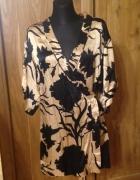 Zara cudne kimono beżowo czarne wzór liście gałązk...