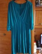 NEXT turkusowa dzianinowa sukienka dla puszystej 46...