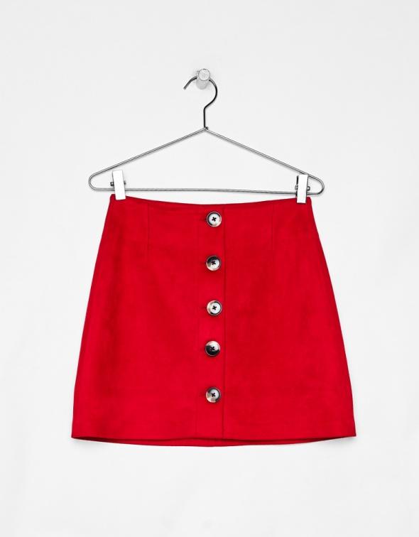 Bershka czerwona spódnica ze sztucznego zamszu o trapezowym kroju insta tumblr