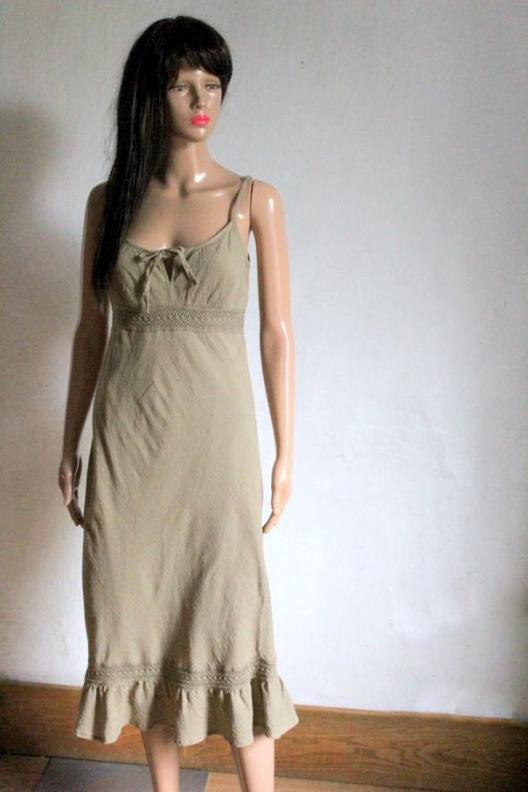 Sukienka khaki midi na ramiączkach r S...