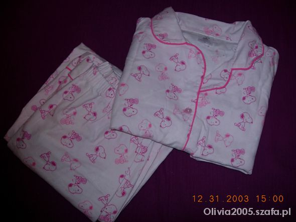 SNOOPY słodka różowa piżamka ze Snoopym