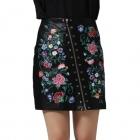 Skórzana spódnica w kwiaty