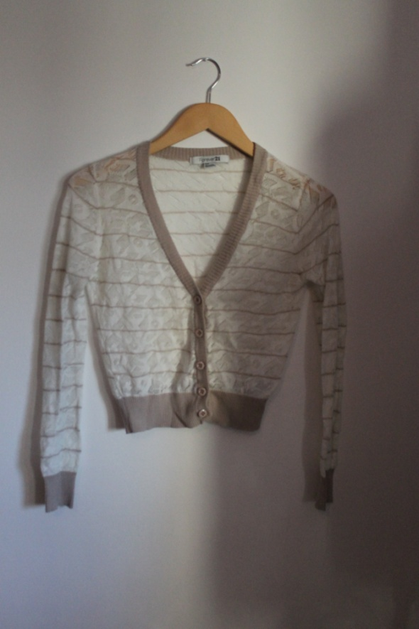 Sweter rozpinany beżowy biały forever 21 xs...