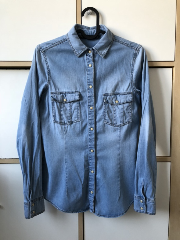 ZARA basic jeans denim koszula jeansowa S
