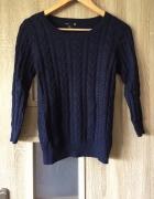 Granatowy sweter H&M warkocze XS