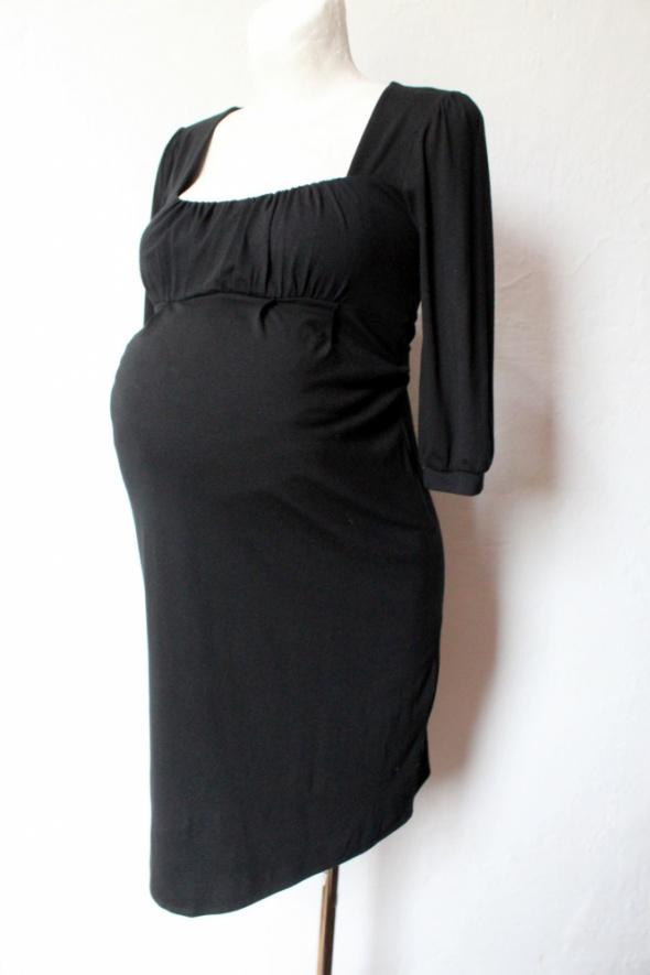 Czarna lejąca sukienka odcinana pod biustem idealna na ciążę r ...